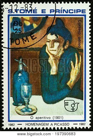 Moscow, Russia - July 27, 2017: A stamp printed in Sao Tome and Principe, shows painting The Absinthe Drinker (1901) by Pablo Picasso, series