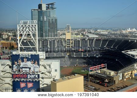 SAN DIEGO - JULY 27: Petco Park in San Diego California prepares for a night of baseball with the Padres. It is a major sports venue in San Diego.