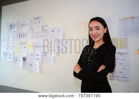 beautiful asian business woman wear black dress and standing with copy space for text