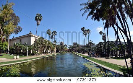 SAN DIEGO - JULY 26: Visitors and locals enjoy a summer day out at Balboa Park in San Diego on July 26 2017. it is a major local landmark.