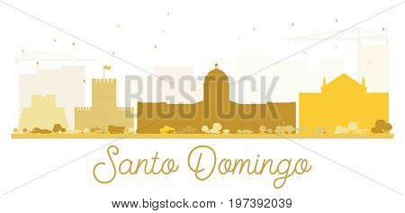 Santo Domingo City skyline golden silhouette. Simple flat illustration for tourism presentation, banner, placard or web site. Cityscape with landmarks.