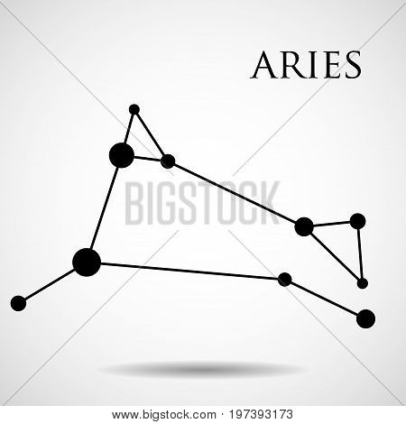Constellation aries zodiac sign isolated on white background. Vector illustration. Eps 10