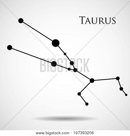 Constellation taurus zodiac sign isolated on white background. Vector illustration. Eps 10