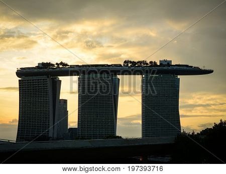 Marina Bay Sands Hotel At Sunset In Singapore
