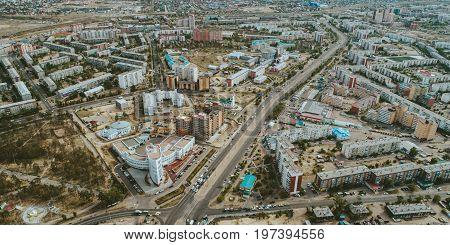 Aerial view of Ulan-Ude, Buryatia, Siberia Russia