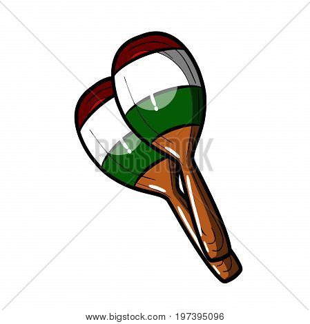 Hand drawing Color Sketch Maracas. Symbol of Mexico, musical instrument isolated on white background. Vector.