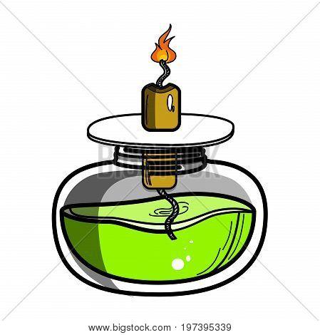 Color sketch of spirit lamp chemical burner. Chemical experiments. Vector illustration, EPS 10