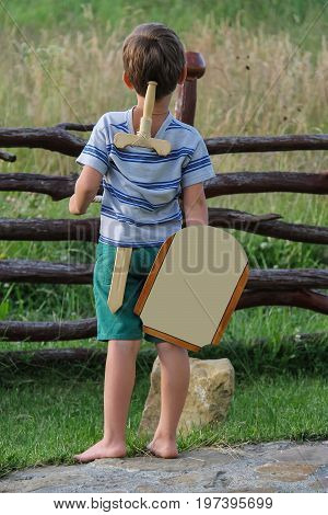 Boy with wooden sword and shield stands before stone