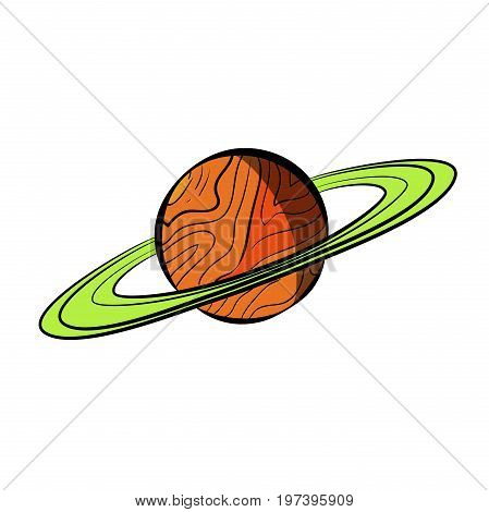 Vector Color Sketch Saturn planet with rings on white background.