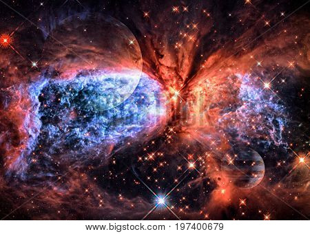Planet And Nebula In Outer Space Wit.