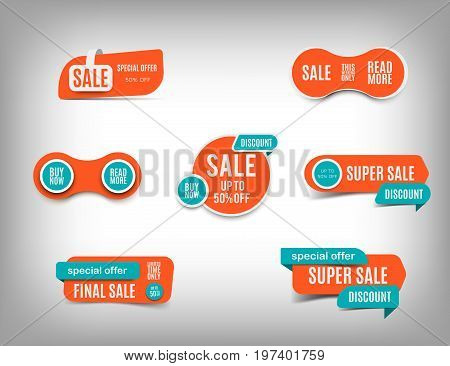 Sale Banner Set, Discount Tag Collection, Special Offer. Trendy Website Stickers On A Gray Abstract