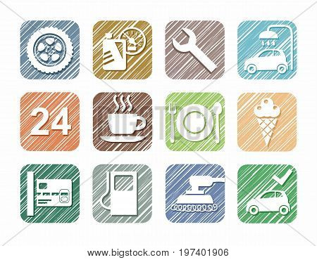 Car service icons, car, color pencil, shading, simulation, vector. Repair and maintenance of the car. White icons on a colored shaded field.