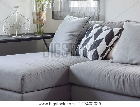 Parallelogram Pattern Pillow And Gray Pillows Setting On Gray So