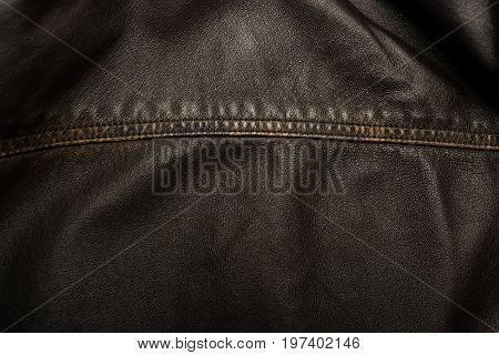 Dark Brown Leather Texture Background With Seam