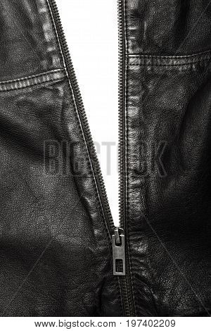 Black Leather Jacket With The Zip Partly Open