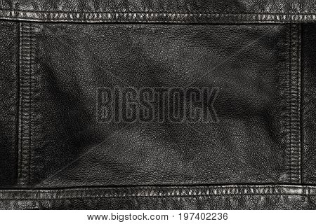 Black Leather Texture Background With Seams On All Sides