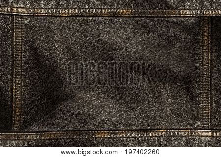 Dark Brown Leather Texture Background With Seams On All Sides
