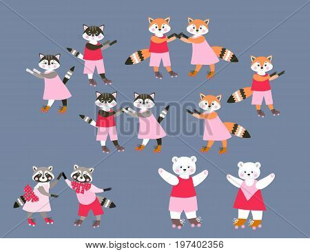 Collection of cute cartoon woodland and pet animals on roller skates. Vector illustration for children. Dancing funny raccoons, cats, foxes and polar bears.