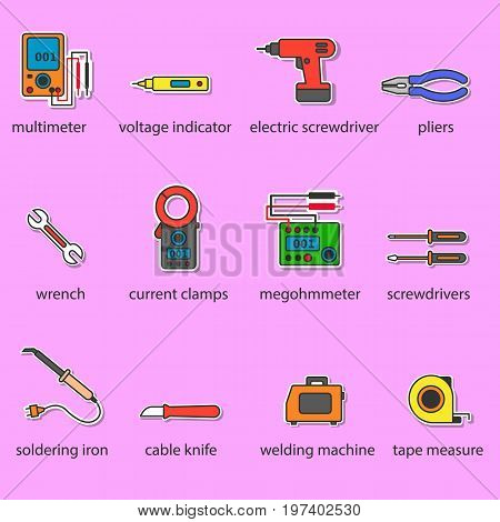 The Electricians tools color icons set. This is a set of icons for websites and electronic applications. The icons have a size of 48 by 48 pixels. This is a vector set of icons.