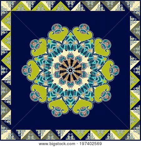Napkin with green flower mandala on dark blue background and ornamental frame.