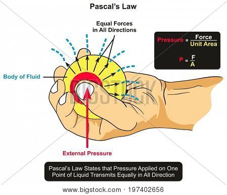 Pascal's Law infographic diagram showing an example of body of fluid held by hand and an external pressure applied by thumb and the forces transmits equally through all directions of area surface