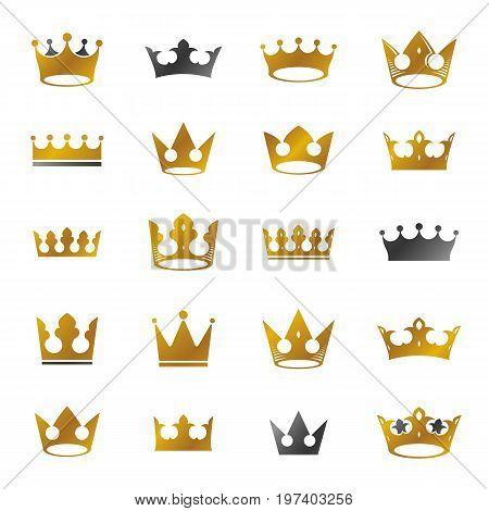 Royal Crowns ancient emblems elements set. Heraldic vector design elements collection. Retro style label heraldry logo.