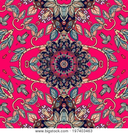 Print for fabric. Bright natural pattern with green leaves and beautiful flower mandala on crimson background. Greeting card.