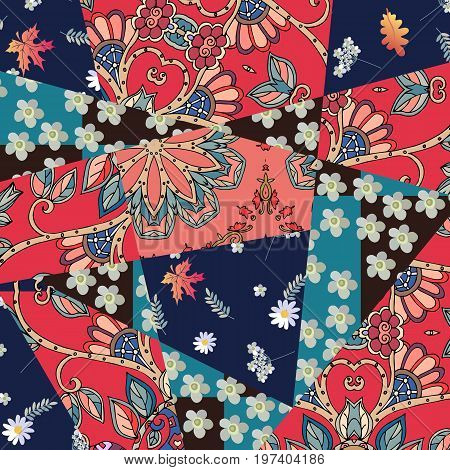 Patchwork natural pattern with yarrow flower and maple leaves. Summer design.