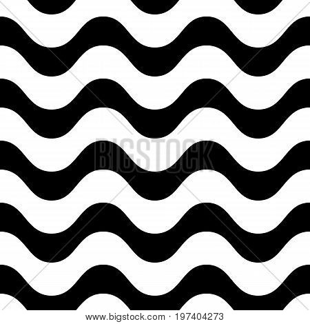 Horizontal wavy lines vector seamless pattern. Simple black & white waves, smooth stripes. Wavy lines pattern. Modern design element for prints, decor, fabric, cloth, textile. Line pattern, geometric pattern, wave pattern, wavy texture.