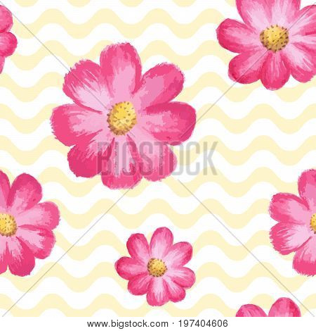 Floral pattern. Watercolor cosmos flowers. Stylish floral texture illustration with blooming pink asters on yellow wavy background. Watercolor flower. Repeat design for prints, fabric, textile, cloth. Flower pattern. Watercolor pattern.