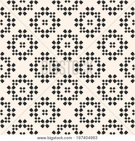 Ornamental pattern. Floral geometric background with quatrefoil flower silhouettes. Simple abstract texture, repeat tiles. Pastel colors design element for decoration, fabric, prints. Oriental pattern, floral pattern, turkish pattern. Arabian motif.