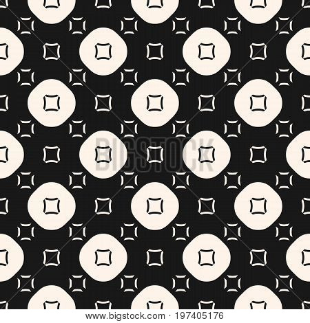Seamless pattern, funky style smooth geometric shapes, circles, squares. Abstract monochrome geometrical texture. Dark stylish background, repeat tiles. Design for prints, decor, covers, web. Design pattern. Geometric pattern. Vintage pattern.