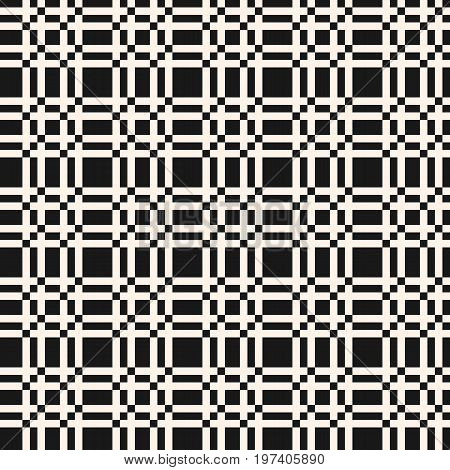 Lattice pattern. Traditional geometric pattern. Vector lattice seamless pattern. Abstract geometric texture with interlacing thin lines. Square grid repeat tiles. Optical illusion. Decorative design elements. Plaid pattern.