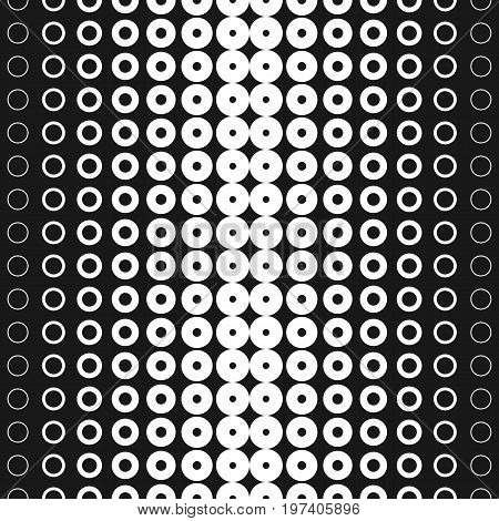 Halftone circles pattern. Vector seamless pattern. Abstract geometric texture with different sized rings in horizontal rows. Halftone pattern. Monochrome background gradient transition effect. Design for decor, digital, web. Halftone texture.