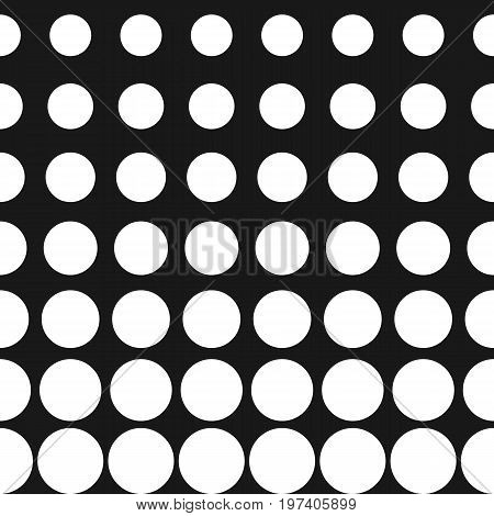 Vector half tone circles seamless pattern. Halftone dots, abstract monochrome background. Gradient transition effect. Simple modern black & white dotted texture. Stylish design for decor, digital, web. Halftone pattern vector. Pattern with dots.