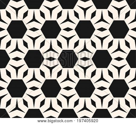 Hexagon background. Vector monochrome seamless pattern, abstract geometric ornament. Simple geometrical figures, polygonal shapes. Modern ornamental background texture. Honeycomb pattern. Design for prints, home, decor, fabric, furniture.