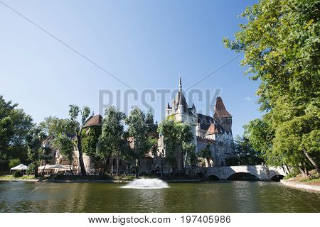 Vajdahunyad Castle View From Lakeside. Budapest