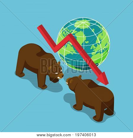 Isometric Bears Fighting With World And Falling Graph.