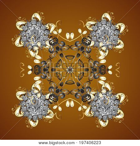 Flat design with abstract snowflakes isolated on brown background. Vector snowflakes background. Snowflakes pattern. Snowflake seamless pattern.
