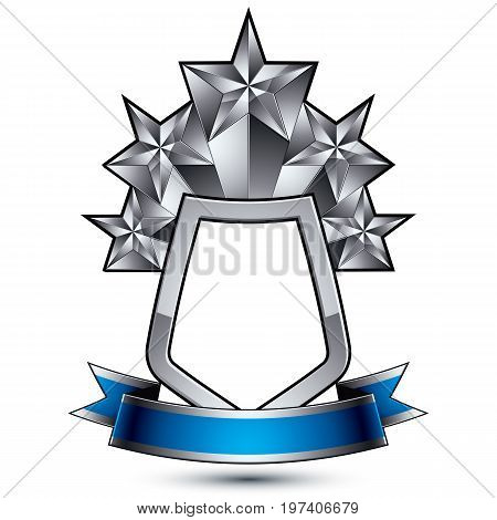 Five vector silver stars with wavy ribbon placed on a protection shield 3d sophisticated pentagonal design element clear EPS 8 emblem.