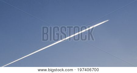 Airplane flying to the stratosphere travelling in the sky