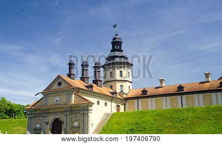Ancient castle in Belarus wallpaper high towers of an ancient castle isolated over blue sky background