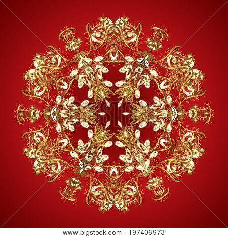 Christmas card with gold snowflakes design on colorful background. Winter card. Merry Christmas New Year and Happy Holiday vector illustration.