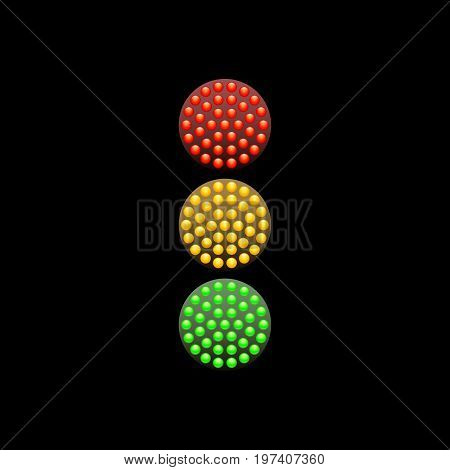 Traffic Light from red, yellow and green diodes isolated on white background. Vector illustration. Simple road sign icon