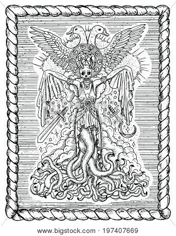Black and white drawing with evil goddess or female demon with tentacles, skull and mystic spiritual symbols in frame. Occult and esoteric vector illustration, gothic engraved background