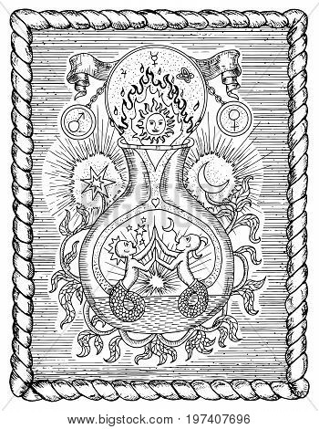 Mystic drawing with spiritual and alchemical symbols, zodiac sign Gemini concept with moon, sun and stars in frame. Occult and esoteric vector illustration, gothic engraved background