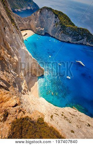Navagio. Shipwreck bay, Zakynthos island, Greece. Vertical panorama.