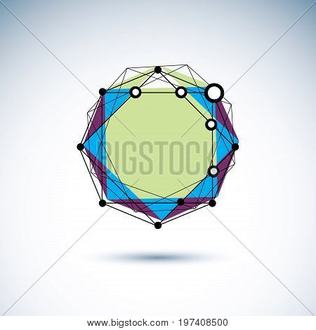 New technology emblem. Abstract three-dimensional shape vector design element.