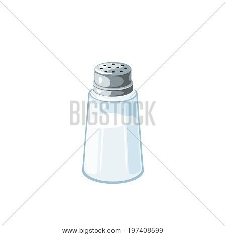 Transparent salt shaker with metal cap salt inside. Vector illustration cartoon flat icon isolated on white.