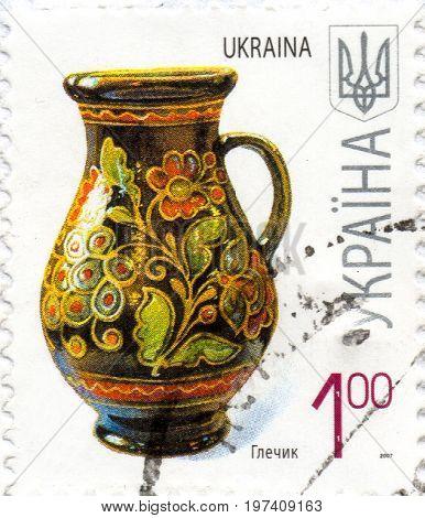 UKRAINE - CIRCA 2017: A postage stamp printed in Ukraine shows An old Ukrainian jug for liquids circa 2007